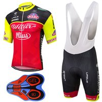 Wholesale Italia Cycling - Catazer 2017 Italia Black Yellow Red Cycling Jerseys Short Sleeves Summer Style For Men 9D Gel Pad Shorts Quick Dry MTB Ropa Ciclismo