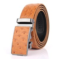 Wholesale Wholesale Formal Women S Clothes - Classic Men 's Personality Belt Alloy Automatic Deduction Luxury Belts Clothing Accessories Ostrich Pattern Cowhide Good Quality