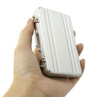 tarjetas de visita materiales al por mayor-Fashion New Mini Case Case Aluminio Tarjeta de visita Nombre Titular Tarjeta Tarjeta Holder, Material del producto 0.6mm Aluminio (Plata)