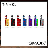Wholesale Tank Refill - Smok T-Priv Kit With 5ml TFV8 Big Baby Tank 220W T-Priv TC Mod Hollow out Design Delrin Drip Tip Top Refill System 100% Original