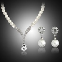 Wholesale Crystal Tear Drop Necklace - Crystal Tear Drop Pearl Necklace Earrings Jewelry set Bridal Bridesmaid Wedding Jewelry Sets Gift Drop Shipping