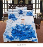 Printed organic duvet covers - piece Organic Cotton D sateen fabric blue roses lady diamond duvet cover set bedding set queen super king bed