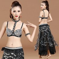 Cheap Belly Dance Suit para senhoras Black Color Poncho Bra + Skirt Set Fantasia Women Stage Feminino Ballroom Indian Costumes Q30133