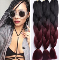 Wholesale crochet box braids hair for sale - 24inch ombre Colors Expression Braid g Ultra Kanekalon Expression Braiding Hair Synthetic Crochet Box Braids Hair Jumbo