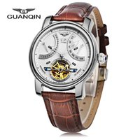 Wholesale Man Water Resistance Watch - Free Shipping New Brand GUANQIN GJ16009 100m Water Resistance Men Genuine Leather Automatic Mechanical Watch Hot Selling