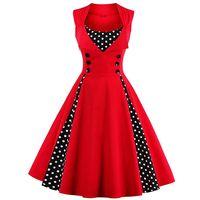 Wholesale Rockabilly Robes - Wholesale- MisShow 2017 Plus Size Summer Women Red Dot Vintage Audrey Hepbum 50s Rockabilly Robe Retro Party Dress Feminino Vestidos