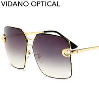 Wholesale Valentine Frames - Vidano Optical Latest Metal Big Square Men Sunglasses Summer Fashion Women Brand Glasses Design UV400 Valentine Gift Wholesale Free Shipping