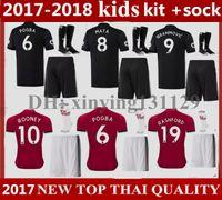 Wholesale United Kids - kids Kits + socks 2018 IBRAHIMOVIC POGBA Man United Home Soccer Jerseys 2017-18 Utd SCHWEINSTEIGER MEMPHIS MATA ROONEY Away Football Shirt