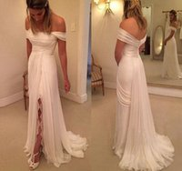 Wholesale Online Cheap Lace Front - Cheap Summer Off The Shoulder Chiffon Wedding Dress Thigh-High Slits White Bridal Dresses For Gowns online chinese store