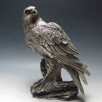 Wholesale Antique China Marks - Set 2 Piece Chinese Silver Bronze Handwork Carved Eagle Statue w Xuande Mark