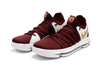Wholesale Kd High Cut - High quality KD 10 Red wine online sales Kevin Durant men women kids Basketball shoes Drop Shipping us5.5-us12