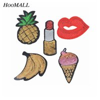 Wholesale Garments For Kids Wholesale - Hoomall 5PCs Mixed Sequins Patches For Clothing Motif Applique Embroidered Sticker Iron On DIY Garment Kids Sewing Accessories