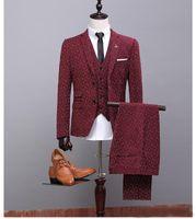 Wholesale Designer Suit Groom Men - Wine Red Groom Tuxedos Notch Lapel Best Man Mens Wedding Suits Design (Jacket+Pant+Vest) Designers Tailored Prom Suits