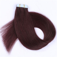 "Wholesale Red Remy Tape Extensions - Factory price top quality 8A Brazilian #99j wine red color remy human hair straight 14-26"" PU tape on hair Extensions 40pcs dhl free"