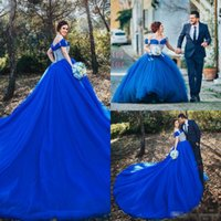 Wholesale Cinderella Party Cheap - Cinderella Off Shoulder Prom Dresses Ball Gown Crystal Royal Blue Evening Gowns Court Train Vintage Formal Party Pageant Gowns 2017 Cheap