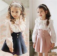 Wholesale Korean Kids Shirts - 2017 Child Clothing Girls Dress + Lace T Shirt 2 Pieces Set Princess Baby Kids Autumn New Arrival Korean Blouse + Dress Sets