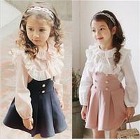 yeni gelenler kore kızı elbiseleri toptan satış-2017 Çocuk Giyim Kız Elbise + Dantel T Gömlek 2 Parça Set Prenses Bebek Çocuk Sonbahar Yeni Varış Kore Bluz + Elbise Setleri