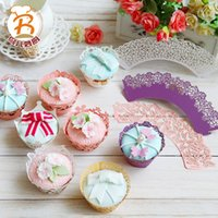 Wholesale Lace Cupcake Cases - Wedding bridal shower Paper Cupcakes Wrappers boxes Reception decoration Laser-cut lace gold cupcake cases