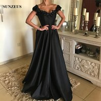 Wholesale Party Gown Online Shopping - A-line V-neck Off Shoulder Black Evening Gowns Long Satin Formal Dress With Flowers Rhinestones Party Gown China Online Shop Free Shipping
