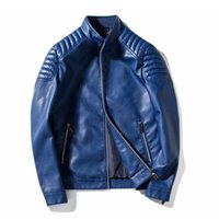 Wholesale Leather Sleeved Jackets Men - New brand 2018 MA1 pilot jacket wholesale badge Baseball collar PU leather windbreaker trend Motorcycle male air jackets M~4XL