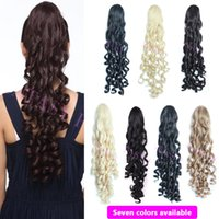 Wholesale Hairpieces For Short Hair - Wholesale-light brown women long kinky curly synthetic hair extensions drawstring pony tails for short hair heat resistant hairpiece