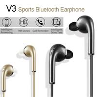 auricular v3 al por mayor-V3 Auriculares inalámbricos Bluetooth Sports Eaphone Auriculares intrauditivos Estéreo Sonido de alta fidelidad con Micrófono Auriculares VS S6 para iPhone Samsung Xiaomi