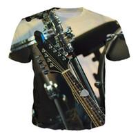 Wholesale Guitar Neck Style - 2017 fashion T-shirt Men or Women 3d Tshirt Print New guitar concert hot style Creative Short Sleeve casual T shirt