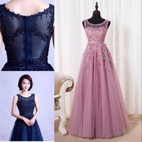 Wholesale Evening Dresses Crystal Tulle Transparent - Robe De Soiree 2018 New Sweet Pink Lace Beading Long Prom Dresses Bridal Scoop Sleeveless Transparent Banquet Sexy Evening Dresses