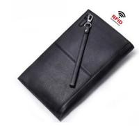 Wholesale Mens Rfid Wallets - RFID Blocking Genuine Leather Mens Wallet Brand Male Wallet Fashion Male Clutch Phone Card Holder Coin Purse Wallet Men Purse Money