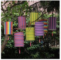 Wholesale craft lantern decoration - Stripe Folding Paper Lanterns For New Year Decoration Multicolor Portable Lantern Party Articles Outdoors Decorate Crafts 21 5fl C R
