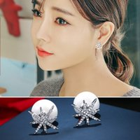 Wholesale Starfish Pearl Stud Earrings - S925 sterling silver earrings starfish pearl earrings female fashion earrings personalized simple temperament anti-allergS925 sterly jewelry