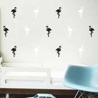 kuşlu çıkartmalar çıkartmalar toptan satış-Duvar Sticker Güzel Flamingo Kuş Küçük Hayvan Su Geçirmez Çıkarılabilir Çıkartması Odası DIY Zemin Karikatür Sanat Ev Dekorasyonu Için 3 8qh F R
