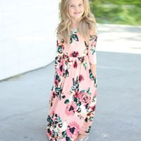 Wholesale Kids Long Maxi Dress - Long Dress Fashion Trend Bohemian Dress for Girls Beach Tunic Floral Autumn Maxi Dresses Kids Party Princess Dresses free shipping