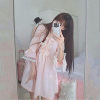 Wholesale Princess Night Gowns - Wholesale- Japnaese Girl Kawaii lolita Cotton Sakura Pink bowtie sleepwear Sleep Dress Gown Vintage Princess Bows Cute night dresses Z49
