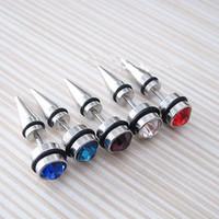 Wholesale Spike Piercing Jewelry - 316L Stainless Steel Spike Stud Earring Men Ear Gold Body Piercing Punk Jewelry