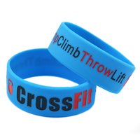 Wholesale Crossfit Silicone - Wholesale Shipping 50PCS Lot 1'' Wide Bracelet Squat Jump Climb Throw Lift CrossFit Silicone Wristband for Sport Promotion Gift