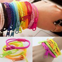 Wholesale New Zip Bracelet Wristband - Wholesale- 10pcs lot 2015 New Zip Bracelet Wristband Dual & Single Color Metal Zipper Bracelet Fluorescent Neon Creative bracelet for women