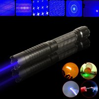 Wholesale Strong Blue Lazer - 1set 5in1 Strong power military blue laser pointer burn match candle lit cigarette wicked lazer torch 20Watt