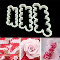 Wholesale Wedding Fondant Molds - 3 pcs set Rose Flower Cake Molds Plastic White Rose Flower Fondant Cutter Cake Decorating Molds Biscuit Cutter