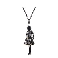 Wholesale Jewelry Black Dress Doll - Lovely Black Dress Doll Necklace Pendants Jewelry Fashion Kids Pendant KeyChains Bag Charms Kroea Style Accessories Women Christmas Gifts
