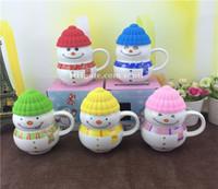 Wholesale Insert Ceramic - Christmas gift Drinkware present ceramic cup Cartoon Seriesc snowman Gift cup
