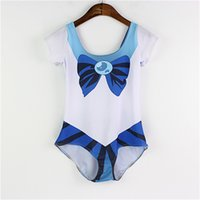 Wholesale Sailor Swim - 2017 Women One Piece Swimwear Sexy Beachwear Cover Belly Spa Swimming Suit Sweet Lady Sailor Moon Blue Beach Sets LNSst