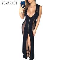 Wholesale Black Mesh Panel Maxi Dress - Black Mesh Patchwork Mermaid Maxi Dress Solid Robe De Soiree Evening V Neck Sleeveless Front Zip Bodycon Party Dresses e9836