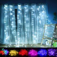 mini led ampuller dekorasyon için toptan satış-10 * 3 m LED Perde Işık Noel süs Flaş Renkli Peri düğün Dekorasyon Aydınlatma LED Şerit dize 1000 işıklar ampuller Su Geçirmez