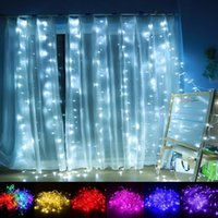 Wholesale Led Ornament String - 10*3m LED Curtain Light Christmas ornament Flash Colored Fairy wedding Decoration Lighting LED Strip string 1000 lights bulbs Waterproof