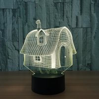 Wholesale led novelty lamp changes colors - Novelty 3D Little Cartoon House Shaped Night light LED 7 Colors Change Touch Bedside Table Lamp Gift For Children