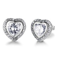 Brand New Classic 925 Sterling Silver Heart Shape Crystal Stud Earrings Simulated Diamond Earrings For Women