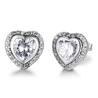 Wholesale Heart Shaped Diamond Earrings Studs - Brand New Classic 925 Sterling Silver Heart Shape Crystal Stud Earrings Simulated Diamond Earrings For Women
