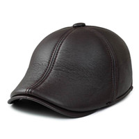 Wholesale Winter Leathers - Wholesale- Beret Warm Winter Male Leather Male Hat Outdoor Windproof Ear Protection Faux Leathers PU Man Berets Thermal Thick Cotton Cap