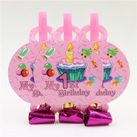 Atacado-10pcs / lot New Arrival Pink My 1st Birthday Candle Tema Padrão Partido Blowout Baby Girl Birthday Party Blow Out Decoração